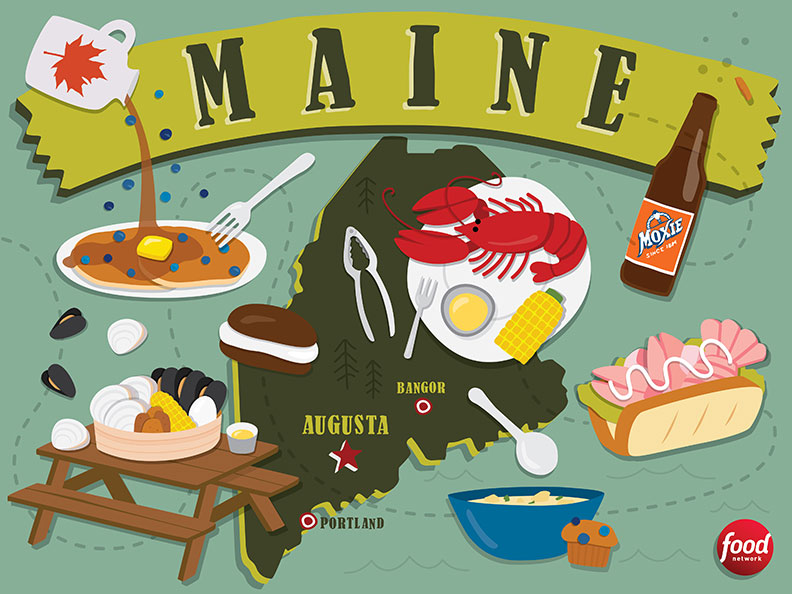 Maine food illustrations